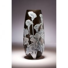 Arum Lilies in hand blown & copper wheel engraved multi layered cameo glass by Alasdair Gordon