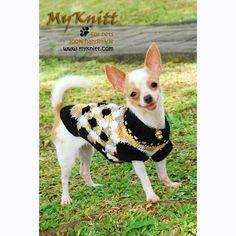 Argyle Cotton Dog Clothes Unique Hand Knitting DK820 by Myknitt #DIYpetclothes #knittingpetsweater #myknitt