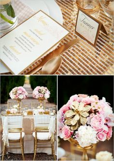 gold and pink wedding ideas.. Do Not like the flower ...