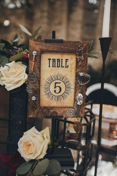 Custom Steampunk Wedding table number Designed By Feathered Heart Prints -  Photo by http://www.wearetheportos.com/