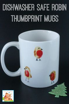Dishwasher safe robin thumbprint mugs, the perfect kid made gift for grandparents and teachers