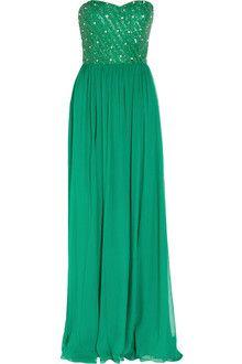 Rachel Gilbert Lucinda strapless silk chiffon gown in jade