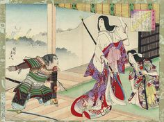 A Samurai reporting on the Battle to a Woman Warrior by Chikanobu. The messanger gestures tas he speaks, broken arrows protruding from his armor and the blade of his sword damaged from use. The woman regards him haughtily, a naginata in her hand.