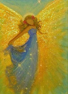 ACEO Original Angel Painting Spiritual Inspirational Healing Energy CCArtist #Impressionism