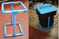 Trash bag holder--plus tons of other neat ideas you can make with PVC pipe