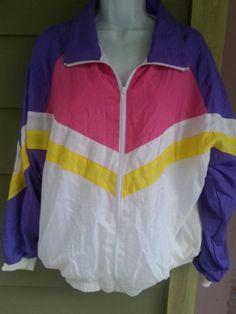 b0dc77011b49e Vintage Deadstock NWT 80s Baggy Colorblock Windsuit Nylon Zip Up Jacket  Windbreaker Size L