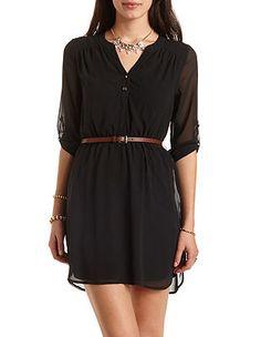 Belted Chiffon Shirt Dress: Charlotte Russe- $26.99