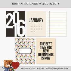 Quality DigiScrap Freebies: Welcome 2016 journal cards freebie from Baers Garten Designs