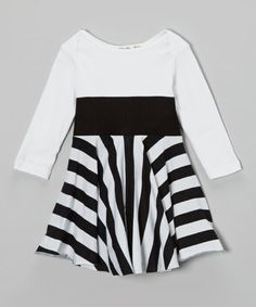 Take a look at this Black & White Stripe Dress - Infant, Toddler & Girls by schnarbles on #zulily today!
