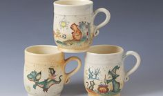 Hand Made Pottery - Fairy Tale jugs, plates, and others, Szentendre Hungary, http://www.szilagyikeramia.hu/