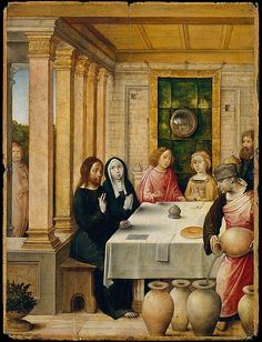 Juan de Flandes (Netherlandish, active by 1496–died 1519).The Marriage Feast at Cana, ca. 1500–1504. The Metropolitan Museum of Art, New York. The Jack and Belle Linsky Collection, 1982 (1982.60.20) | This was one of forty-seven panels representing the lives of Christ and the Virgin that were made for Isabella of Castile. The picture's subject is The Marriage Feast at Cana, when Christ performed his first miracle turning water into wine.