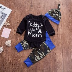 Hat Outfits Set i-Auto Time Newborn Baby Boy Clothes Little Man Deer Printed Romper Tops Camouflage Pants
