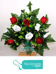 Gorgeous Red Roses And White Roses Cemetery Arrangement For Mausoleum https://www.amazon.com/dp/B01N4V0A2F/ref=hnd_sw_r_pi_dp_dBaLybPHFVE5R #handmadeatamazon