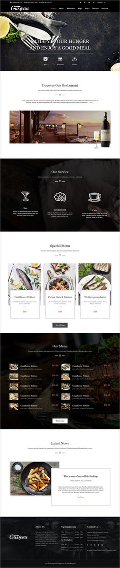 Gusteau is a elegant and modern design responsive #HTML template for #food and #restaurant #website with 4 unique homepage layouts download now➩ https://themeforest.net/item/gusteau-elegant-food-and-restaurant-html-template/18590907?ref=Datasata