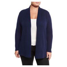 Neiman Marcus Cashmere Open Front Computer Cardigan, British Blue,... ($199) ❤ liked on Polyvore featuring tops, cardigans, blue cardigan, women's plus size tops, plus size cashmere cardigan, plus size womens cardigans and long sleeve tops