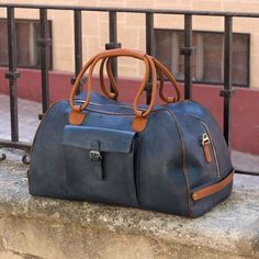 Handcrafted Custom Made Luxury Travel Duffel in Cognac, Medium Brown and Navy Blue Painted Full Grain Leather From Robert August. Create your own custom designed shoes. Custom Made Shoes, Custom Design Shoes, Leather Suitcase, Leather Luggage, Leather Bags, Constellation, Best Carry On Luggage, How To Make Shoes, Duffel Bag
