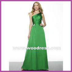 elegant one shoulder long princess green bridesmaid dresses 2013 summer Style MT9245