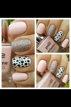 Nude pink, dotty and sparkles