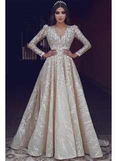 2019 Said Mhamad Light Champagne Sparkly Wedding Dresses V Neck - Wedding Outfit Wedding Gown A Line, Best Wedding Dresses, Bridal Dresses, Wedding Gowns, Prom Dresses, Bridesmaid Dresses, Long Dresses, Fall Wedding, Hijab Evening Dress