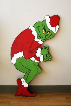 Holiday decorating just got easier! This four and half foot tall Grinch lawn ornament is perfect for outside your house. Add one strand of lights