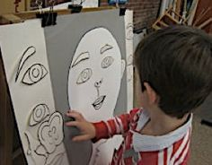 Kindergarten Portrait Lessons; excellent way to introduce proportions! Make it a game - be silly and have fun while also learning a little about where feature should be placed.