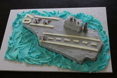 Aircraft carrier boys birthday cake with F/A-18 F-18s made of candy clay. Great for US Navy or pilot party theme.