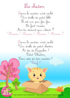 Paroles_La comptinette du chaton - comptines à gestes French Poems, French Quotes, Friendship Activities, French Expressions, Help Teaching, Teaching French, Preschool Activities, Alphabet Activities, Kids Songs