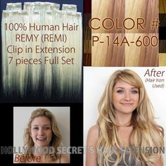 20 inches, Hollywood Secret's Clip in Clip on Hair Extension, 7pc Full Set, Color#: P-14A-600 - Piano Mix Ash G Blonde & Cool P Blonde, 100% Human Premium REMY (REMI) Hair, Silky Straight - Free Shipping Available by Hollywood Secret's Hair Extension. $99.00. Hair Material: 100% Human Hair and Premium Quality REMY (REMI) Hair. Quantity: 7 Pieces Full Set ( 4clip x 1pc - 3clip x 2pc - 2clip x 2pc - 1clip x 2pc ). Weight: Approx. 3 oz (85 gram) - covers one whole head.. Leng...