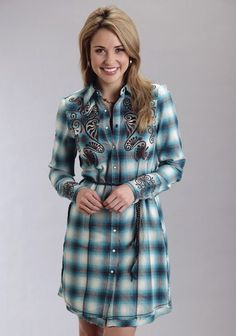Stetson® Turquoise Plaid Embroidered Western Shirt Dress