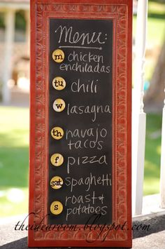 Make your own Chalkboard Menu- she used a metal tray, but you could use any frame w/ a piece of sheet metal.