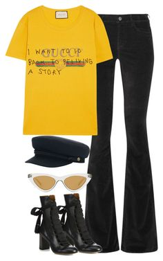"""""""Sin título #1400"""" by osnapitzvic ❤ liked on Polyvore featuring M.i.h Jeans, Chloé, Le Specs, Gucci and Brixton"""