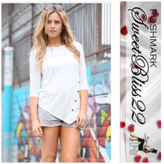 White Side Button Top Comfortable,  Stylish, Solid Knit Front ButtonJersey Top! ⭐️96% Polyester 4% Spandex Comes in Small only! These will sell out fast! Don't miss out Tops