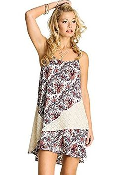 UMGEE USA Boho Chic Printed Tank Dress, Spagetti Strap Dress, Uptown Girl Co at Amazon Women's Clothing store: