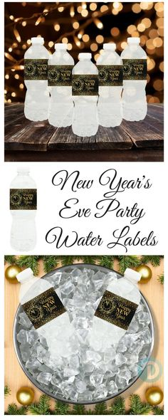 and Gold New Year's Eve Party Water Bottle Labels - 24 Count These New Year's Eve Party water bottle labels are perfect for home, work or school parties.These New Year's Eve Party water bottle labels are perfect for home, work or school parties. New Years Eve 2018, New Years Party, Nye Party, Gatsby Party, New Years Eve Decorations, Wedding Bottles, Water Party, New Year Celebration, Partys