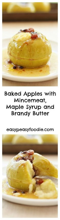 Whether you want a decadent festive pud to get you in the mood for Christmas or an easy peasy way of using up leftover mincemeat after Christmas, these Baked Apples with Mincemeat, Maple Syrup and Brandy Butter are sure to hit the spot! #christmas #apples #bakedapples #bramleyapples #maplesyrup #brandybutter #christmasleftovers #leftovers #easychristmas #easypeasychristmas #christmasfood #easychristmasfood #christmasrecipes #easychristmasrecipes #easyentertaining #easypeasyfoodie…