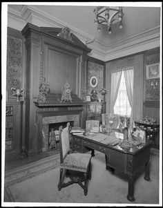 40 West 74th Street. E. Haas residence, library at window and mantel.