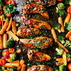 ONE PAN Balsamic Chicken and Veggies: with vinegar, zesty Italian dressing, chicken fingers, broccoli, baby carrots, cherry tomatoes, Italian seasoning, olive oil, garlic powder, fresh parsley, salt, pepper