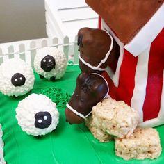Sheep and Horse Cake Pops _ Farm Birthday Party _ Barnyard Birthday Cake