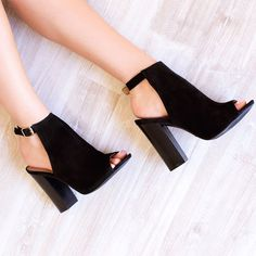 Charming, Comfortable Women's Lelia Black Summer Boots Suede Peep Toe Chunky Heels Slingback Ankle Strap Ankle Boots you best choice for Dancing club, Music festival -TOP Design by FSJ Dream Shoes, Crazy Shoes, Zapatos Shoes, Shoes Heels, Converse Shoes, Adidas Shoes, Shoes Sneakers, Cute Shoes, Me Too Shoes