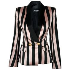 Balmain Striped Twill Suit Jacket (€2.196) ❤ liked on Polyvore featuring outerwear, jackets, balmain, balmain jacket, shawl lapel jacket, lapel jacket and striped shawl