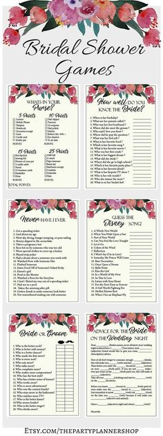 Floral Bridal Shower Games, 6 Printable Bachelorette Games, Bridal Shower Game, Hens Night Game, Party Game, Fun Games ► WHATS INCLUDED You will receive 1 ZIP file with the following games: 1. Advice For The Bride On The Wedding Night 2. Whats In Your Purse? 3. never Have I Ever 4. Bride Or Groom 5. How Well Do You Know The Bride? 6. Guess The Disney Song ► SIZES: A4 ( 21.0 cm x 29.7 cm / 8.3 in x 11.7 in ) Letter Size (21.6 cm x 27.9 cm / 8.5 in x 11.0 in) A5 ( 74 cm x 10.5 cm...