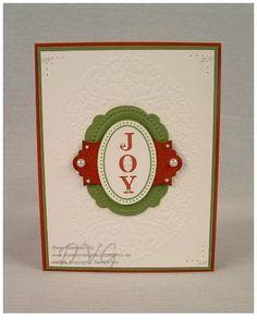 Joyous Celebrations stamp set with Holiday Frame embossing folder. Christmas Card Crafts, Stampin Up Christmas, Christmas 2014, Xmas, Joyous Celebration, Beautiful Christmas Cards, Embossed Cards, Winter Cards, Card Making Inspiration