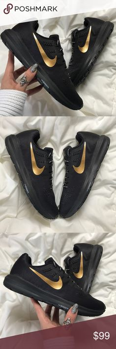 NWT Nike ID custom gold swoosh Brand new no box,price is firm!!size men's 8.5 N -women's 10 black with gold swoosh Always there to support you, the Nike Air Zoom Structure 20 Shield iD Running Shoe offers incredible stability and bouncy, flexible cushioning for an ultra-smooth ride. Durable weather protection and enhanced traction are ideal for running in wet weather. Customize yours with exclusive graphics and reflective options to stand out—even in the most challenging conditions. Nike…