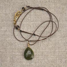 Vesuvianite Briolette Pendant Necklace on Brown Silk by AUREATA, $56.00