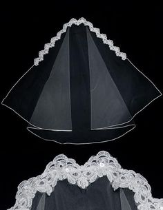 A unique mantilla bridal veil with Alencon beaded lace, square cut corners and a soutache edge. This wedding veil is fingertip length, 38 inches long and 72 inc