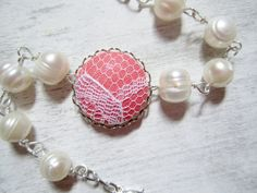 Coral Bracelet Pearl Bracelet Lace Wedding by clammyscloset, $30.00