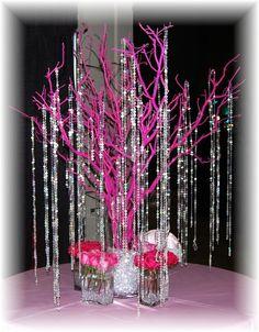 Pink manzanita branch with crystals and fresh flowers.  Floral Designer / Wedding Planner