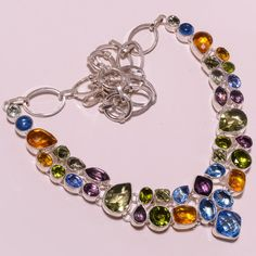 925 Sterling Silver bt+peridot+citrine+amethyst deginer necklace g845 77gm #Handmade #Necklace