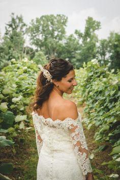 Bride in a vineyard.   Luke & Ariel's Wedding Wedding photos shot by Hitch and Sparrow Wedding Co.