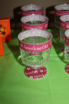 American Girl Party ~  Candy cups, each kid gets a cup to fill from a candy table and keep throughout the party!